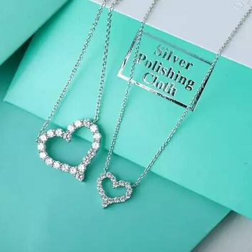 Tiffany 925 sterling silver heart-shaped diamond necklace high quality