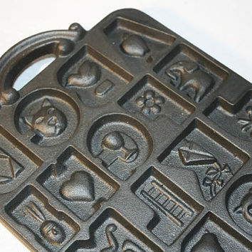 John Wright Cast Iron Alphabet Mold, Metal Wall Decor