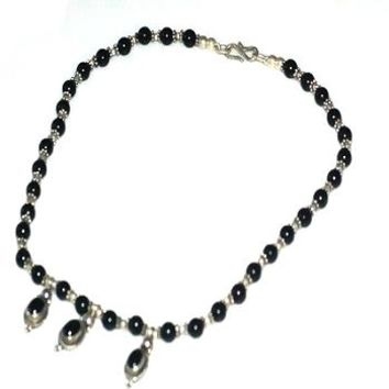 Sterling Silver black onyx and silver bead 16 inch Necklace