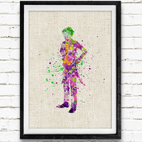 Joker Watercolor Art Print, Heath Ledger Joker, Batman Superhero, Boys Room Wall Art, Home Decor, Not Framed, Buy 2 Get 1 Free!
