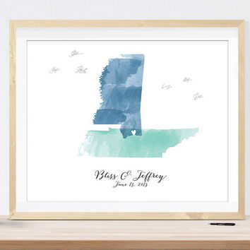 Watercolor Map wedding sign, custom guest book alternative with your city and states