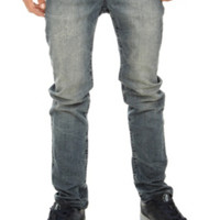 Vintage Distressed Slim Straight Fit Denim Jeans