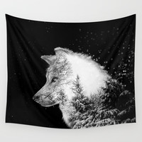Winter Wolf Wall Tapestry by yazdesigns