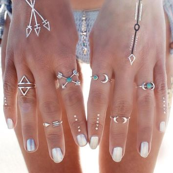 Arrow Moon Boho Rings 6 pc Set