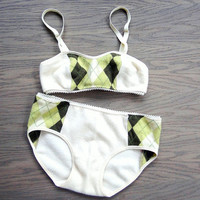 Pure cashmere bralette and panties set - cream and argyle lingerie. Washable.