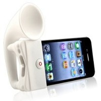 eForCity Silicone Horn Stand Speaker compatible with Apple iPhone 4 / 4S-White