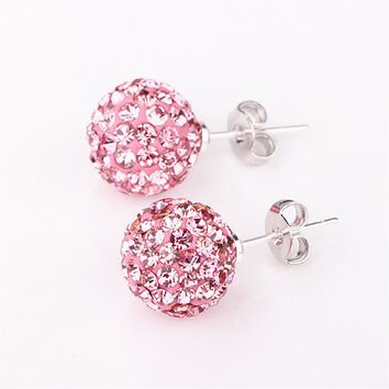 2017 Fashion Shamballa 10mm Silver Round Ball Pave Beads Crystal Stud Earrings Jewelry Rhinestone Girl Earrings For Women
