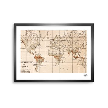 Vintage Map - Beige Tan Travel Digital Framed Art Print