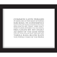 Common Legal Latin Phrases and Lawyer Terms FRAMED Print: Modern Graphic Art Language Print Series, Law student gift, 8.5x11 Black Frame