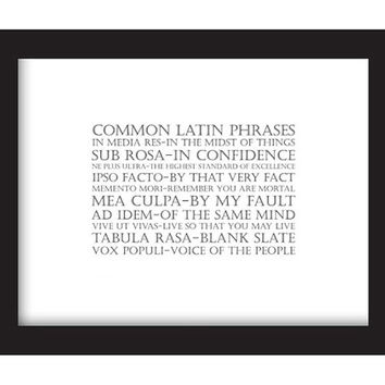 Common Latin Phrases FRAMED Print: Modern Graphic Art Language Print Series, Home Décor Art, 8.5x11 Black Frame