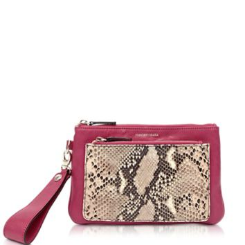 Francesco Biasia Designer Handbags Hampstead Aurora Embossed Leather Clutch w/Wristlet