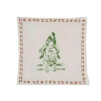 Show Jumping Linen Cocktail Napkins (Set of 4)