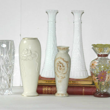5 Mismatched Vases | Lenox | Gorham Lead Crystal Vase Made Germany | Floral Glass Vase | Milk Glass | Ceramic Cherub Vase with Roses