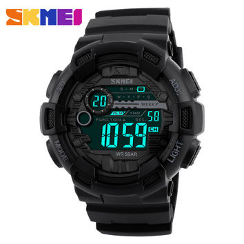 2017 New SKMEI 1243 Man Sports Digital Wristwatches Both Time Clock Timing Alarm Back Light Waterproof Fashion Watches