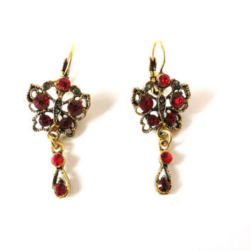 Butterflies, Red Glass Beads, Rhinestones, Metal, Dangle Earrings, Beaded #earrings #butterflies #red #metal #golden #tone