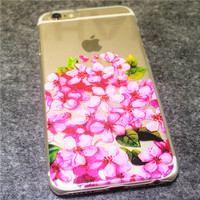 Pink Floral Print Transparent iPhone Case