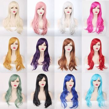 "2018 Hot Sale 70cm 27.56"" 250g Heat Resistant Synthetic Hair for Women Female Lolita Style Cosplay Wig Black Blond Pink Red"