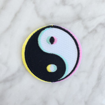 Yin Yang Patch - Iron On, Embroidered Applique - 90s