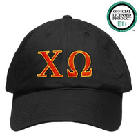 Chi Omega (Chi O) Black Nike Golf Hat | Red & Yellow Letters