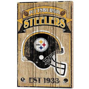 """PITTSBURGH STEELERS EST 1933 VINTAGE WOOD SIGN 15""""X24'' BRAND NEW WINCRAFT"""