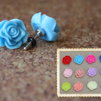 Whimsical flower plugs for gauged ears: 14g (1.6mm),12g (2mm),10g (2.4mm),8g (3mm),6g (4mm), 4g (5mm),2g (6mm),0g (8mm)