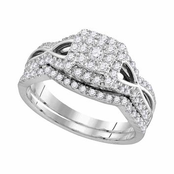 14kt White Gold Womens Round Diamond Split-shank Halo Bridal Wedding Engagement Ring Band Set 1/2 Cttw