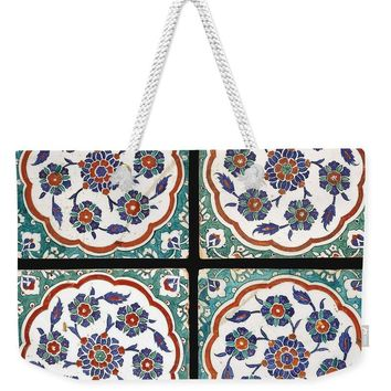 An Ottoman Iznik Style Floral Design Pottery Polychrome, By Adam Asar, No 14 - Weekender Tote Bag