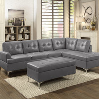 2 pc barrington collection gray vinyl upholstered sectional sofa set with chrome modern legs