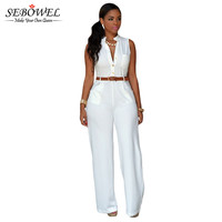 2016 S-XXL White Plus Size Jumpsuits And Rompers For Women Sleeveless Elegant Jumpsuit Long Pants Party Casual Full Bodysuits