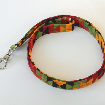 Southwest Lanyard / Southwestern Keychain / Red Yellow and Green / Key Lanyard / ID Badge Holder / Badge Lanyard / Fabric Lanyard / Rasta