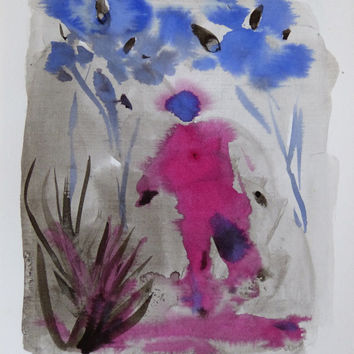 AFTER THE RAIN - original drawing ink painting, blue & pink bright fresh colors, nature fantasy, authentic art from Paris - not a print!