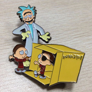 Calvin and Hobbes - Rick and Morty Mashup - Duplicator - Hat Pin