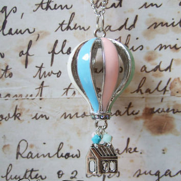 Buy 2 and get FREE SHIPPING - Pastel Blue Pink and Green Hot Air Balloon Floating house Necklace from Disney Pixar UP (Limited Edition)