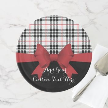 Red Black Tartan Plaid and Ribbon Girly Cute Cake Stand