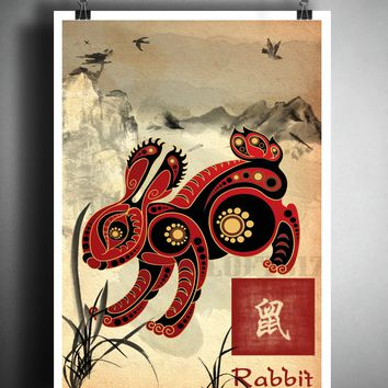 Chinese Zodiac Rabbit, asian wall decor, Sumi-e Asian wall decor, Japanese ink painting, Zodiac art print
