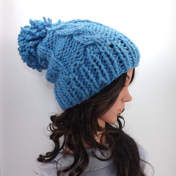 Knitted Chunky Slouchy Pom Pom Hat /SKY BLUE/, Knit Cable Slouchy Hat, Gift Idea
