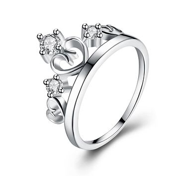 Swarovski Elements Crown Design Ring in 18K White Gold 925 Sterling Silver Unique Casual Rings