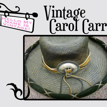 Vintage Carol Carr Hat- Black Snakeskin Straw Western Cowgirl Hat- Rodeo Girl- Country Woman- Vintage Bohemian Style- Gypsy Hat- Lg Concha