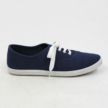 """""""Buddy"""" Canvas Lace Up Walking Sneakers - Navy Blue"""