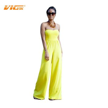 VICVIK Brand Elegant Sexy Jumpsuit Ladies Women Green Jumpsuits Long Overalls for Women Leisure Pants Plus Size