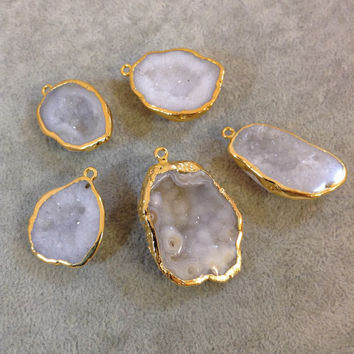Gold-Plated Quartz Druzy Pendant - You Pick!