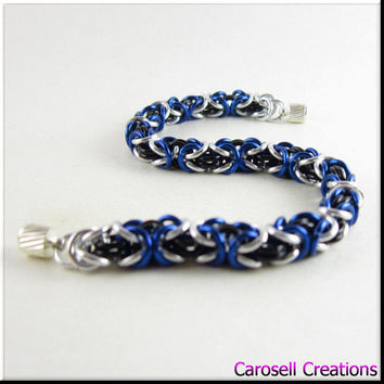 Chain Mail Bracelet Blue Black and Silver Byzantine Chainmaille