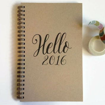 Writing journal, spiral notebook, cute diary, small sketchbook, scrapbook, memory book -Hello 2016, New Year resolutions, to do list