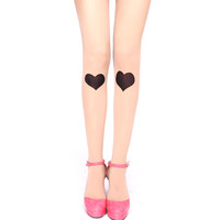 Heart Shaped Knee Patch Sheer Nude Tattoo Tights for Women | DOTOLY