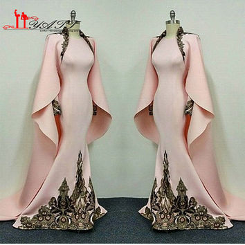 Hot Pink Musilm Fashion Long Sleeve Women Clothing Sexy Mermaid Evening Prom Dress With Two Pieces Cape Turkish Sukienki 2017