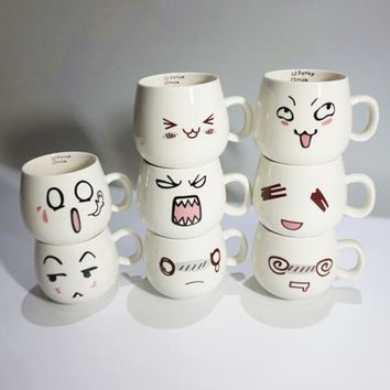 Creative Fun Lovely 8 Styles Cute Face Mug White Pottery Ceramic Cup Tea Coffee Milk Cup With Handgrip 300ml