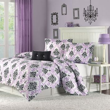 Twin / Twin XL Size Purple Damask Design Comforter Set
