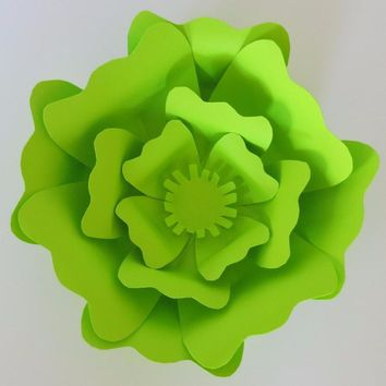 "Neon Green Paper Rose, Big Lime Flower, 6"" Wall Hanging Paper Sculpture, Wedding Backdrop, Prom Prop, Homecoming bouquet, Single Bloom"