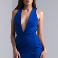 AKIRA Deep V Open Back Asymmetrical Mini Dress in Royal