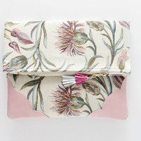 DAHLIA 15  / Floral tapestry & Natural leather folded clutch - Ready to Ship